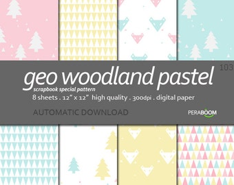 Pastel digital paper, baby background patterns, Instant Download,  Pastel pink, baby blue, yellow, Geometric, modern nursery, woodland