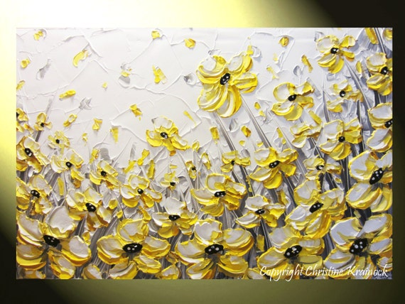 original art abstract painting yellow grey flowers modern. Black Bedroom Furniture Sets. Home Design Ideas