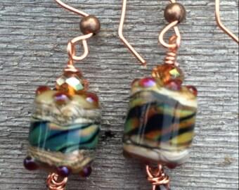 Lampwork and crystal dangle earrings