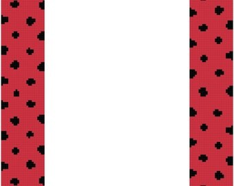 Red and Black Ladybug Frame for 5 x 7 Picture Cross Stitch Pattern