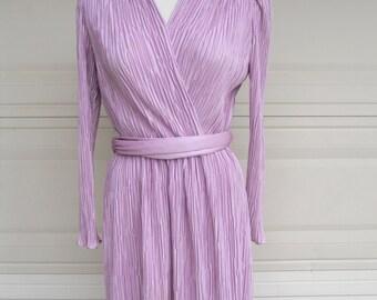 Vintage Wrap Dress . 1980s MAUVE Ruched Puff Sleeves . Medium