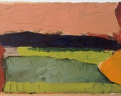 Valley at fall - Original abstract plein air landscape painting, oil on canvas, 20 x 40 cm ; 7.9 x 15.7 inch, Shirley Kanyon