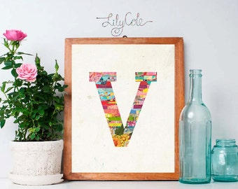 Monogram V, Initial or Letter Art, Printable, Instant Download, Nursery Art, Party Art, Anthropologie style, Teacher, Family Gift, Lily Cole