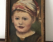 Vintage oil painting / blue eyed boy / portrait of a boy / euro chic / antique painting