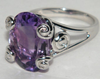 Natural Genuine Amethyst Faceted Oval Cut Purple Gemstone 22ct Silver 925 Ring