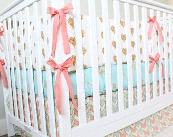 Coral,Mint and Gold Baby Girl Bedding, Gold Heart Crib Bedding