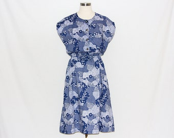 Vintage Blue & White Printed Pattern Dress