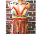 Crochet Music Festival Rainbow Halter Top by Vikni - Made To Order