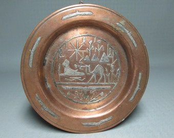 copper tray EGYPT DESIGNS ( sphinx pyramid etc )   sterling silver overlay