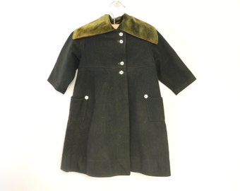 Vintage Baby Clothes, 1920's Handmade Hunter Green Wool and Velvet Baby Girl Coat Set, Vintage Baby Coat, Wool Baby Coat, Size 18-24 Months