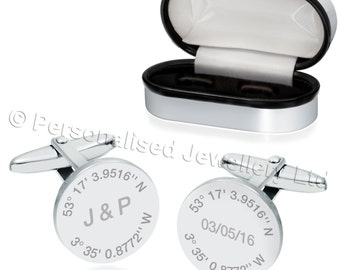 Latitude and Longitude Cufflinks 925 Sterling Silver (can be personalised/engraved) CUF54