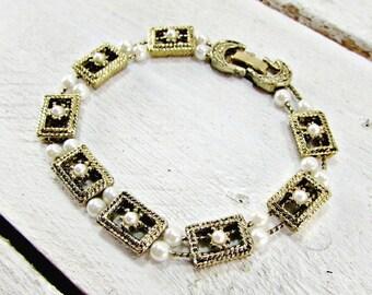 Vintage Slide Charm Bracelet, Pearl Charm Bracelet, Gold Charm Bracelet, 1970s Romantic Victorian Revival Jewelry, Girlfriend Gift for Her