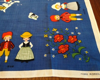 Ingrid Pedersen Linen - Map of Denmark - Traditional Folk Costumes