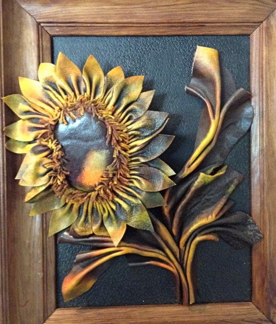 Vintage Sunflower Wall Decor : Leather sunflower wood framed wall art sculpture poland