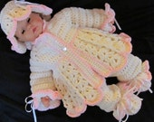 Handmade baby shower, christening Newborn Baby Cardigan, Pants, Booties, Hat set. Perfect Shower Gift /Take Home Outfit