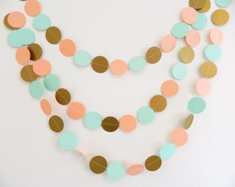 Coral and Mint Bridal Shower Decor - Gold Coral and Mint wedding garland - Gender Neutral Baby shower Decor -10Ft Garland - Custom colors