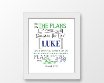 Custom Scripture Print; Jeremiah 29:11 - For I know the Plans I have for You; Boy Nursery Art; Bible Verse Art