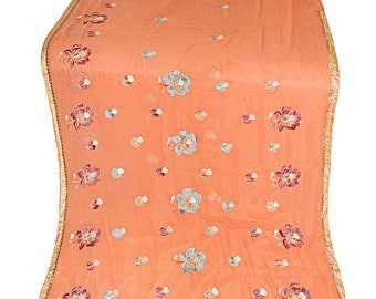 One  Used Sari ,Dress  Making fabric sarong drape Embroidered Sari in peach