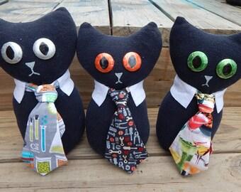 Plush Teacher cat necktie professor cat cute stuffed animal plushie cotton humor funny upcycle science art shop
