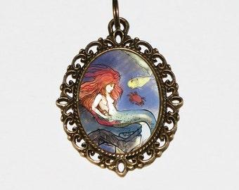 Mermaid Necklace, Whimsical Jewelry, Ocean, Sea, Beach, Warwick Goble, Mythology, Bronze Oval Pendant