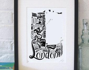 Best of London  - London print - London poster - London Art - Typographic Print - London illustration - letter art