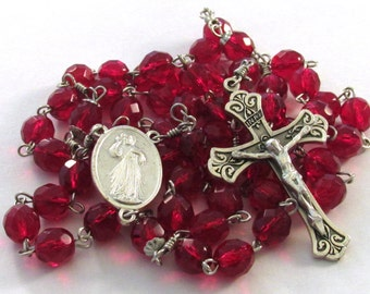 Divine Mercy Rosary Red Czech Glass Beads Handmade Catholic Devotional