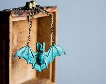 Large Bat Necklace Patina Batman Pendant Batgirl Verdigris Batman Necklace Quirky Batman Jewelry - N164