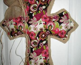 Burlap Cross Burlap Door Hanger Floral Print