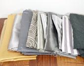 Gold, silver, gray fabric scraps, medium to large scraps, fabric remnants, variety pack, scrap assortment, destash scrap bundle