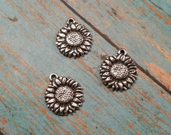 Tierracast Sunflower Charm, Tierra Cast Silver Plated Pewter Charms, Lead Free Sun Flower, Made in USA (94-2103-12)