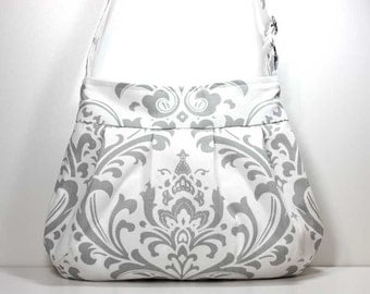 Gray and White Damask Pleated Shoulder Purse Sling Bag Hobo Shoulder Bag Cross Body Bag Crossbody Bag - Made to Order