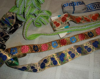 Collection Lot mod 70s flower power sewing trims ribbon, notions binding, fancy glitter, gold embossed 15.5 yds..Reduced WAS 28.88