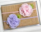 Chiffon Flower Headband - Shabby Chic Headband - Pink Flower Headband - Lavender Chiffon Headband
