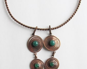 Vintage Necklace Copper & Green GlassLarge Dangling Spiral Abstract Hand Made