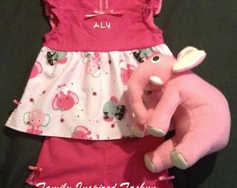 Girls personalized pajama, monogrammed pajama, stuffed animal