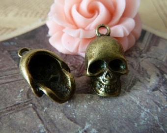 10pcs -12x20 mm 3D  Ancient bronze skull    Charm Pendant -Necklace pendants, Jewelry pendants,Bracelets ,Ring Fittings