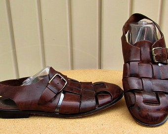 vintage 80s brown woven leather fisherman sandals 10m slingback enzo angiolini