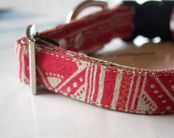 Cotton Linen Canvas BOHO Dog Collar - Pink
