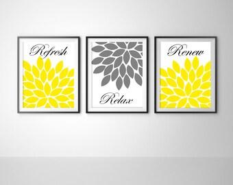 Flower Print Chrysanthemum Flowers Set of 3 Art Print Relax Wall Decor Modern Minimalist Bathroom Bedroom Grey Yellow Prints Posters