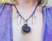 Ammonite howlite and gunmetal necklace
