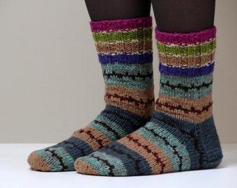 Size US womans 8.5 (EU39) Beautiful Hand knit wool socks