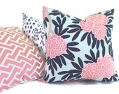 Caitlin Wilson Blue and Pink Floral 18x18, 20x20, 22x22, Euro sham or  Lumbar pillow cover, Accent Pillow, Throw Pillow, Toss Pillow