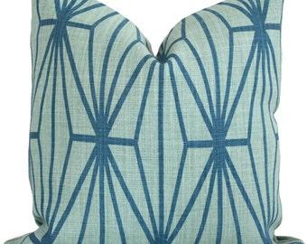 Lee Jofa Groundworks Jade Teal Katana Trellis  Pillow Cover Square, Euro or Lumbar Pillow,  Throw Pillow, Accent Pillow, Toss Pillow