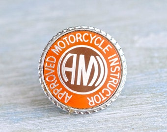 Approved Motorcycle Instructor - Vintage AMI Badge - Bikers Lapel Pin