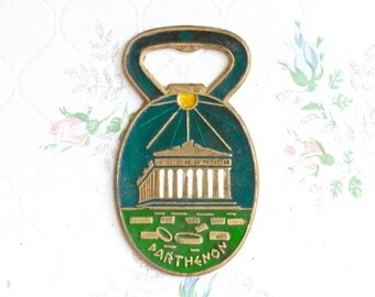 Parthenon - Unusual Bottle Opener - Enamel on Brass - Souvenir from Athens Greece