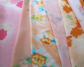 Kimono silk pack, 7 yds vintage Japanese kimono silks fabric, crafters pack fabric remnants, sewing supplies, creative projects, set 4