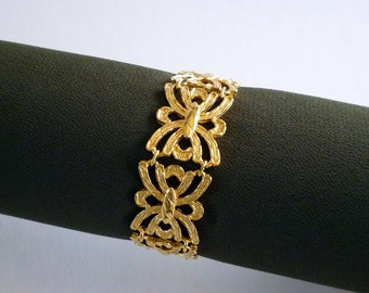 Art Deco Gold Tone Link Bracelet Signed Sarah Coventry