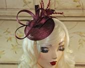 Wine Fascinator - Maroon Mini Fascinator Hat - Burgundy Tea Party Fascinator Hat - Wedding Fascinator - British Fascinate Hat