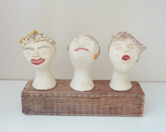 Ceramic sculptures ceramic women heads