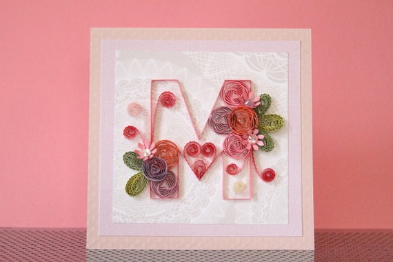Handmade Greeting Quilling Pink M Card With